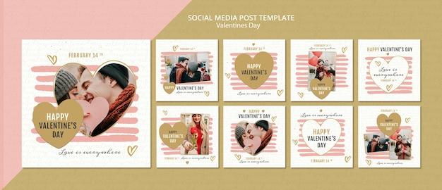 Modèle de publication de médias sociaux de concept de la saint-valentin