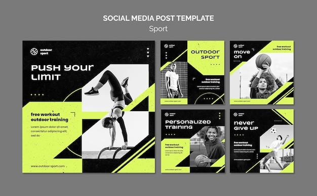 Modèle de publication sur les médias sociaux de concept de sport