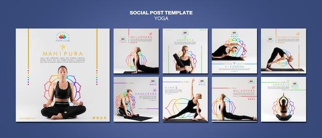 Modèle de publication de médias sociaux de concept de yoga