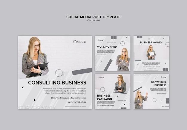 Modèle de publication sur les médias sociaux de conception d'entreprise