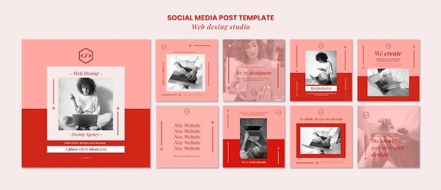 Modèle de publication de médias sociaux de conception de studio web