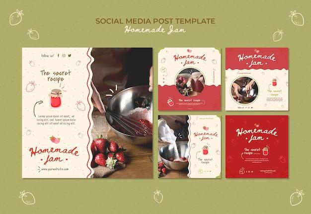 Modèle de publication sur les médias sociaux de confiture maison