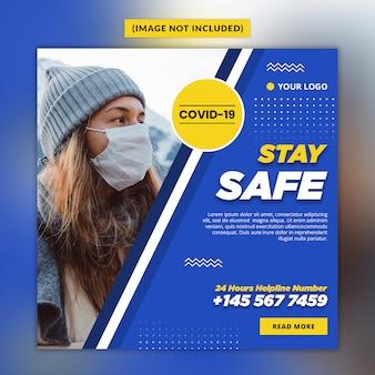 Modèle de publication de médias sociaux sur le coronavirus ou le covid-19