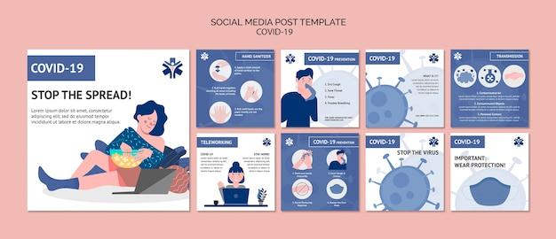 Modèle de publication de médias sociaux sur le coronavirus