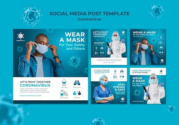 Modèle de publication sur les médias sociaux sur le coronavirus