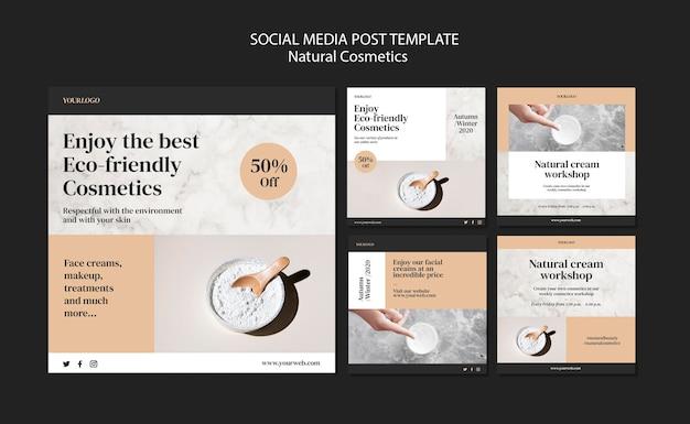 Modèle de publication sur les médias sociaux de cosmétiques naturels