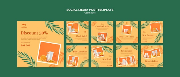 Modèle de publication sur les médias sociaux de cosmétiques
