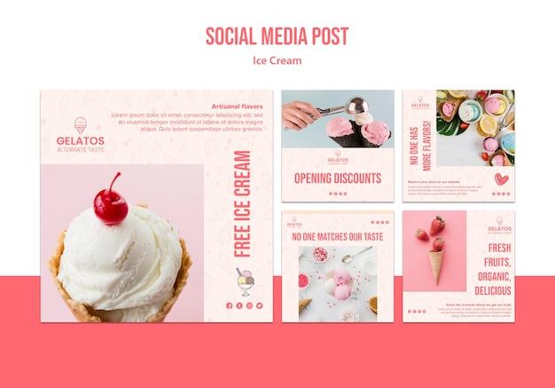 Modèle de publication de médias sociaux de crème glacée