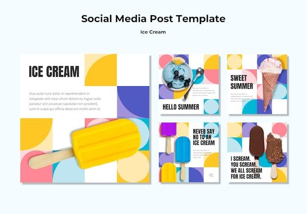 Modèle de publication sur les médias sociaux de la crème glacée