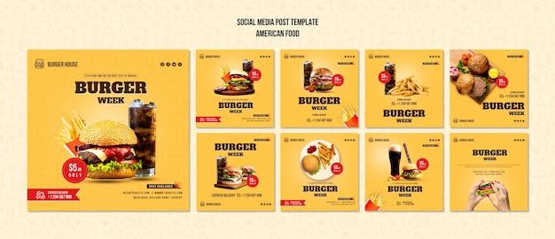 Modèle de publication de médias sociaux de cuisine américaine