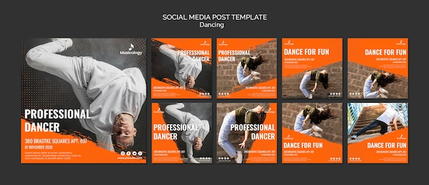 Modèle de publication de médias sociaux danseur professionnel