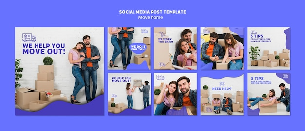 Modèle de publication de médias sociaux de déménagement