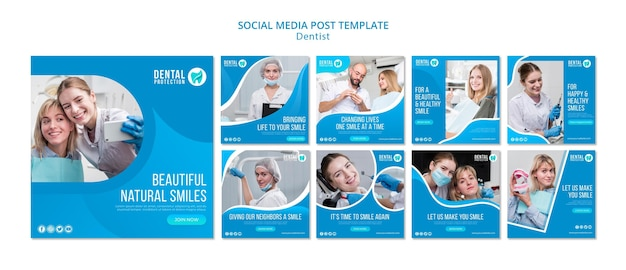 Modèle de publication de médias sociaux de dentiste