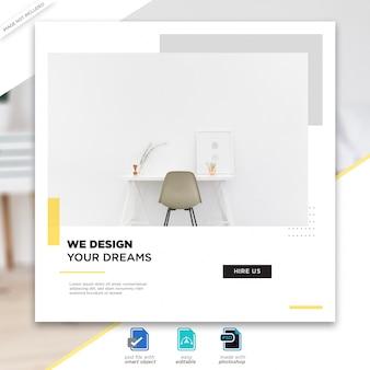Modèle de publication de médias sociaux de design d'intérieur