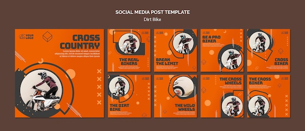Modèle de publication sur les médias sociaux dirt bike