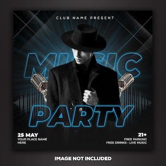 Modèle de publication de médias sociaux dj music party