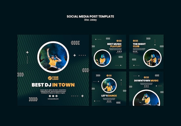 Modèle de publication de médias sociaux dj