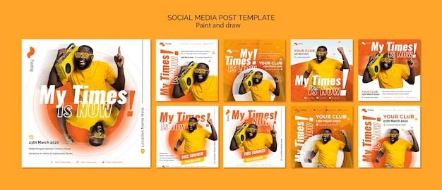 Modèle de publication sur les médias sociaux avec douleur et tirage