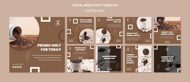 Modèle de publication sur les médias sociaux du café