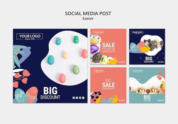 Modèle de publication sur les médias sociaux avec du chocolat noir pour pâques