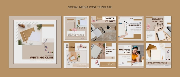 Modèle de publication sur les médias sociaux du club d'écriture
