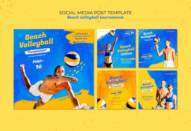 Modèle de publication sur les médias sociaux du concept de beach-volley