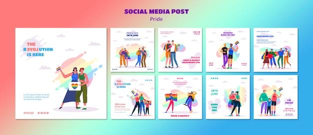 Modèle de publication sur les médias sociaux du jour de la fierté