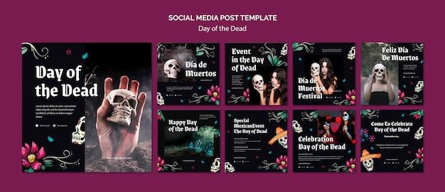 Modèle de publication sur les médias sociaux du jour des morts