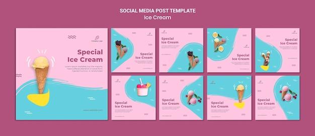 Modèle de publication sur les médias sociaux du magasin de crème glacée