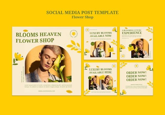 Modèle de publication sur les médias sociaux du magasin de fleurs