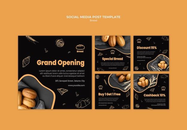 Modèle de publication sur les médias sociaux du magasin de pain
