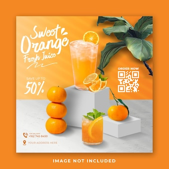 Modèle de publication sur les médias sociaux du menu de boisson au jus d'orange