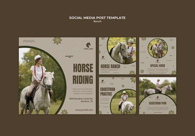 Modèle de publication sur les médias sociaux du ranch de chevaux