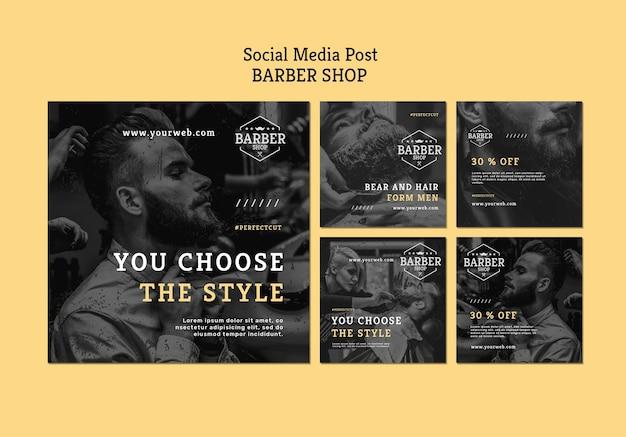 Modèle de publication sur les médias sociaux du salon de coiffure