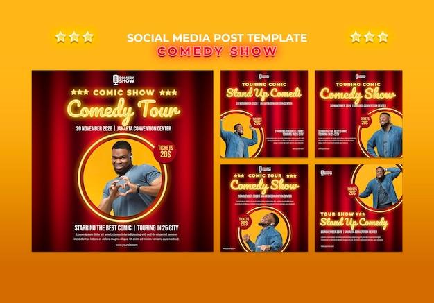 Modèle de publication sur les médias sociaux du spectacle de comédie
