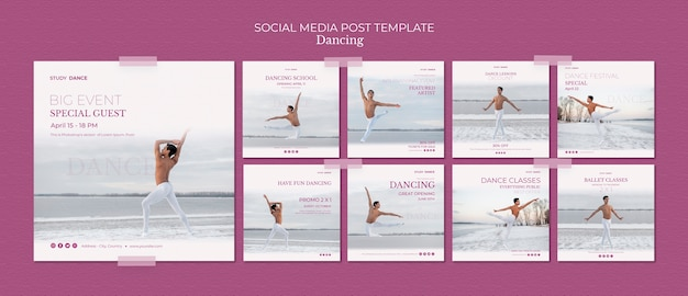 Modèle de publication de médias sociaux de l'école de danse