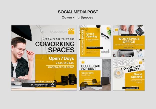 Modèle de publication sur les médias sociaux de l'espace de bureau de coworking