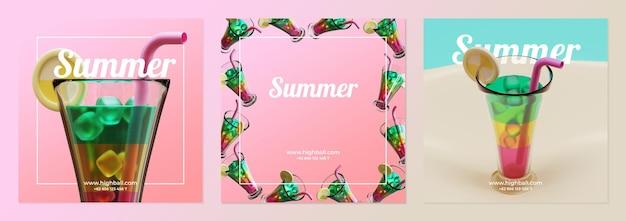 Modèle de publication de médias sociaux d'été avec rendu 3d de cocktail highball