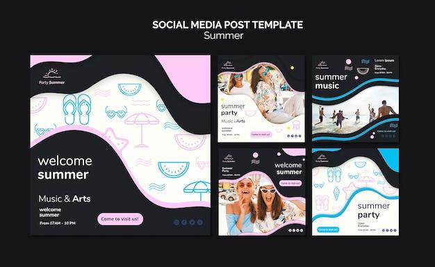 Modèle de publication de médias sociaux d'été