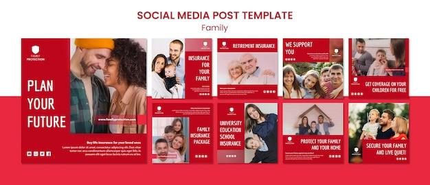 Modèle de publication sur les médias sociaux avec la famille