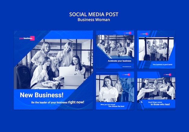Modèle de publication sur les médias sociaux avec une femme d'affaires