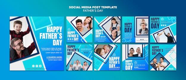 Modèle de publication sur les médias sociaux de la fête des pères heureux