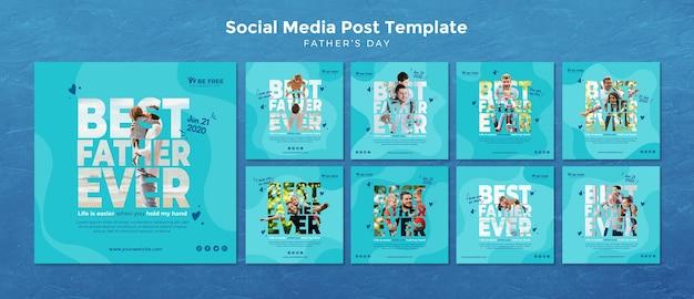Modèle de publication sur les médias sociaux avec la fête des pères
