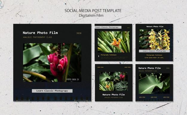 Modèle de publication sur les médias sociaux de film photo nature