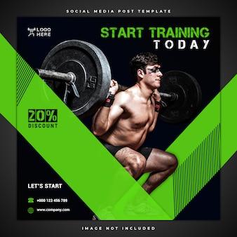 Modèle de publication de médias sociaux de fitness et de gym