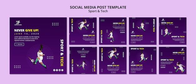 Modèle de publication de médias sociaux de football fille