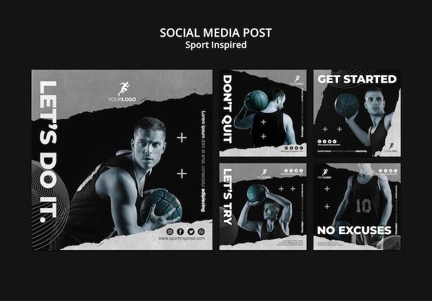 Modèle de publication sur les médias sociaux de formation de basket-ball