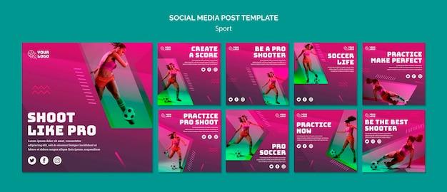 Modèle de publication sur les médias sociaux de formation de football