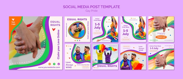Modèle de publication de médias sociaux gay pride