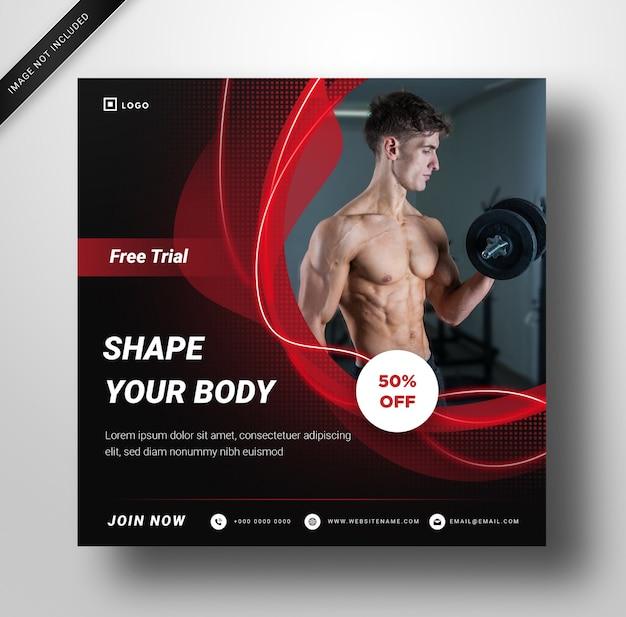 Modèle de publication de médias sociaux. gym avec un design élégant